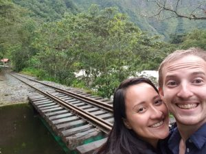 Kyomi and me on the way to Machu Picchu. One of the advantages in LDR are the trips