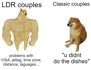 A meme that compares traditional relationships to long-distance relationships