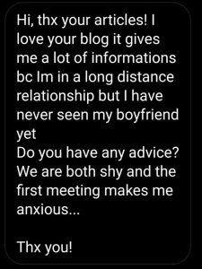 Image of the first LDR Story. A screenshot of a question a long distance couple asked me