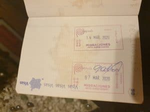 Image of the first LDR Story. My passport stamped when I arrived in Peru, when I met my girlfriend from a distance for the first time