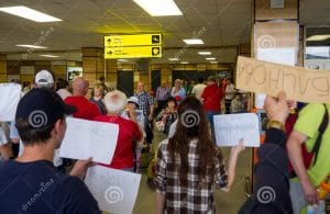 Image of the first LDR Story. The crowd of people waiting at the airport when I joined my girlfriend and started my long distance relationship