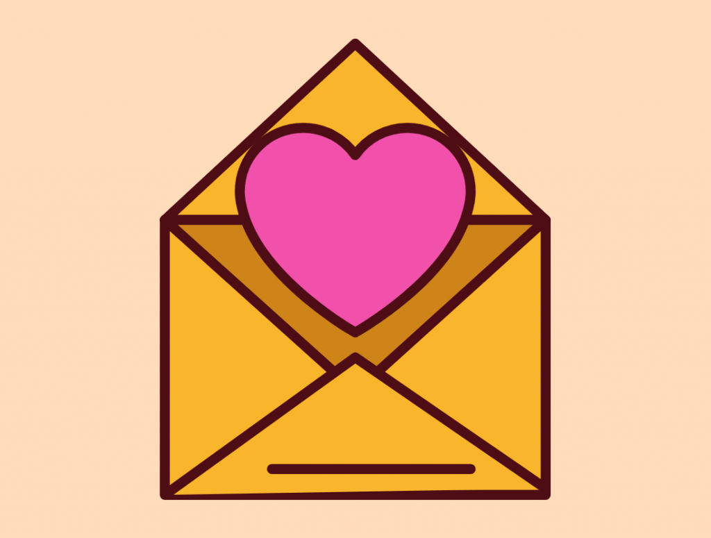 a letter with a heart that represents what you will receive every day for a week (long distance advice, solutions, inspiration for your couple)