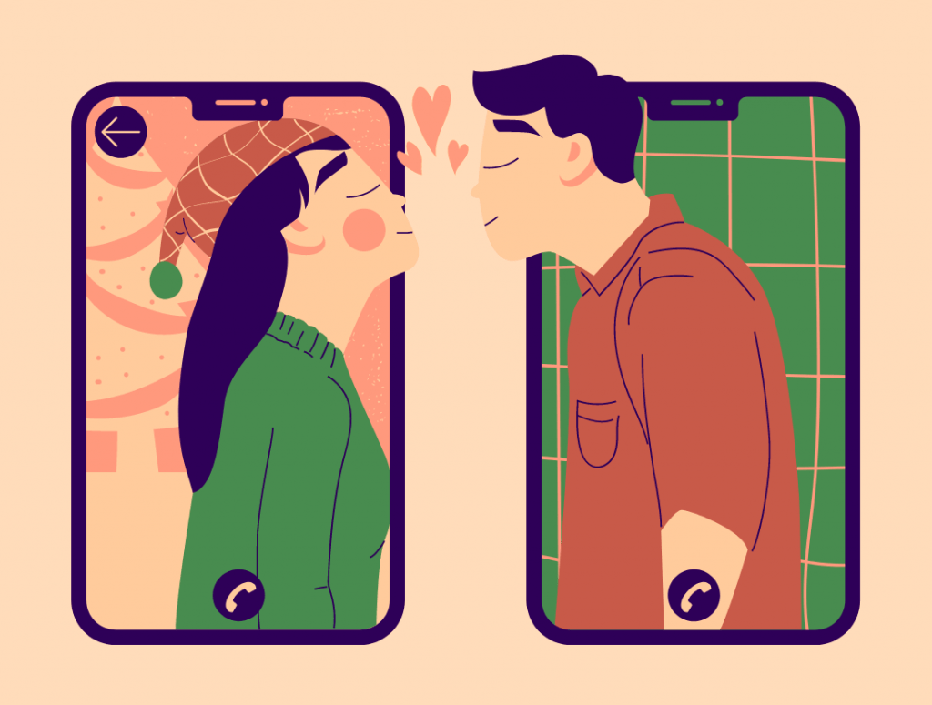 a couple in a long distance relationship who are kissing and not bored anymore thanks to my PDF of 26 LDR challenges