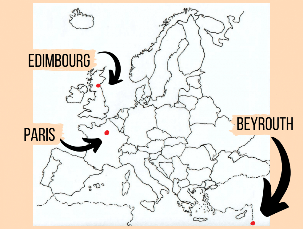 map of Europe explaining where Beirut, Paris and Edinburgh are located to better understand this LDR short story