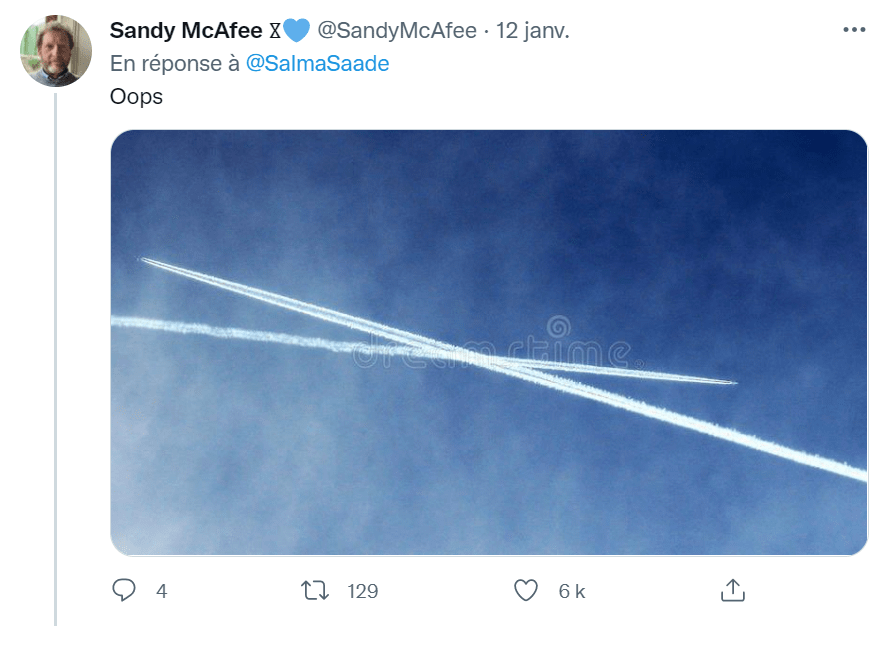 Reaction picture on twitter: two airplane tracks cross each other in the sky