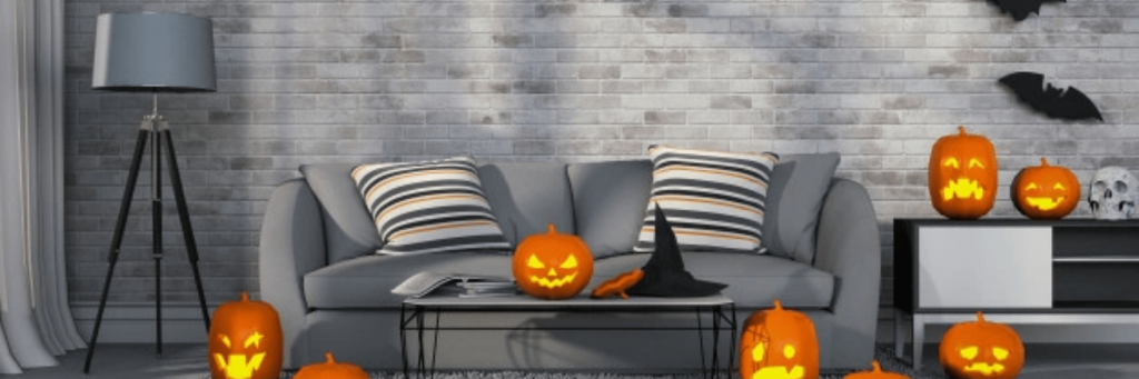 presentation image that helps long-distance couples decorate a room for Halloween.