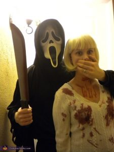 Two people in a long-distance relationship with the scream costume for a Halloween party