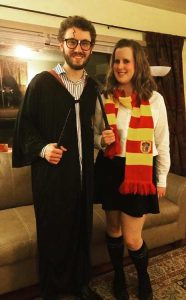 Two people in a long-distance relationship with the Harry Potter costume for a Halloween party